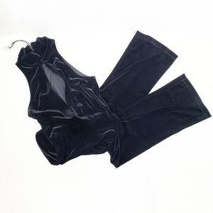 Topshop black velvet turtleck sleeveless jumpsuit